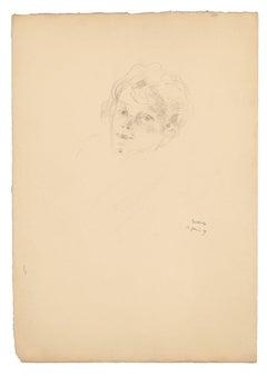 Portrait of Woman - Original Drawing in pencil by Carl Bertold - 1929