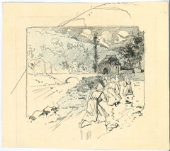 Farmers in the Landscape - Pen and Pastel by Georges Conrad - Early 20th Century