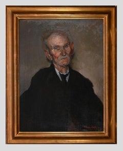 Portrait of a Man - Original Oil Painting by Mario Molinari - Mid-20th Century