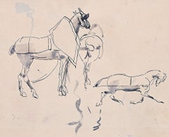 Study for Horses Painting - Original Ink drawing - 19th Century