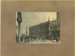 Venice - Original China Ink, Watercolor and Tempera by Francesco Zanin - 1877