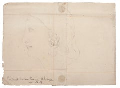 Profile of Woman - Original Pencil Drawing - 1818