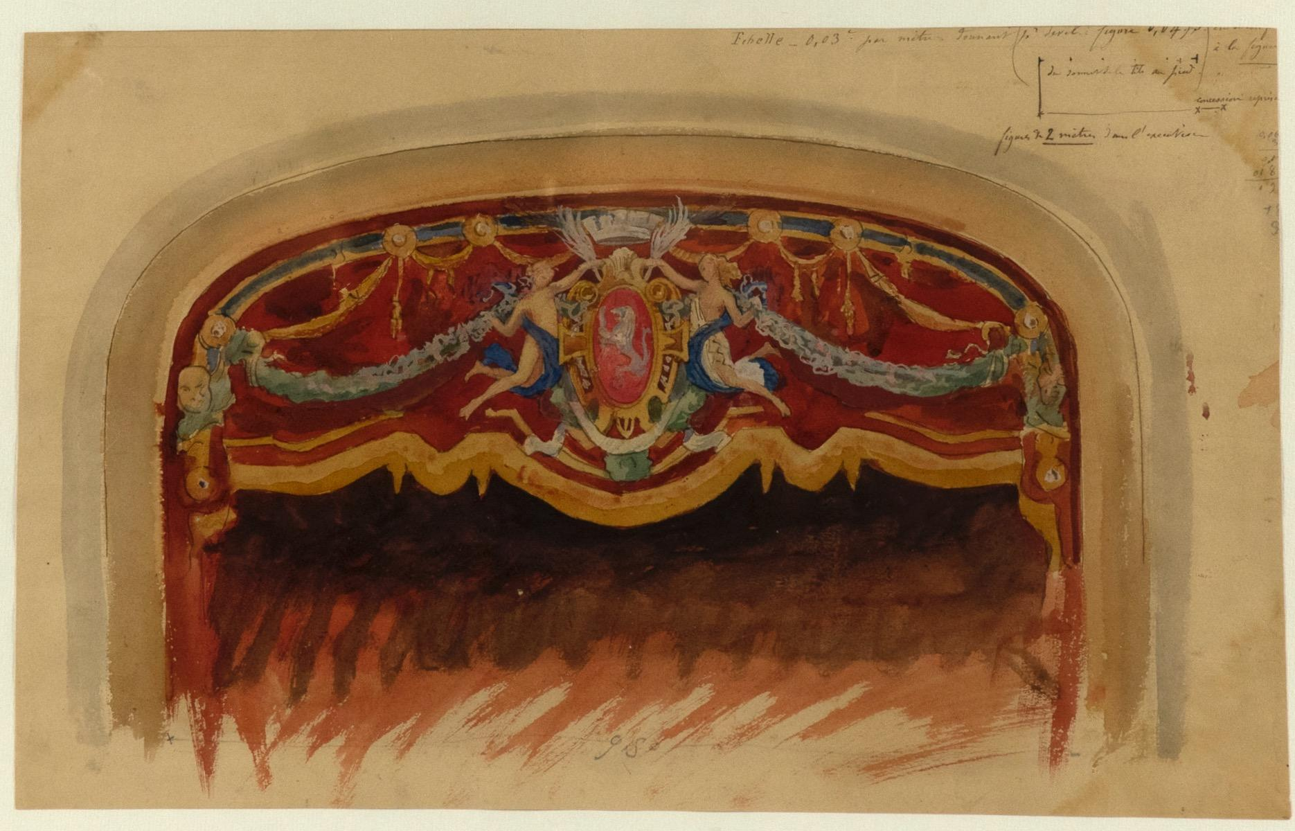Scenography - Original Watercolor Drawing by Auguste Leroux - Early 20th Century