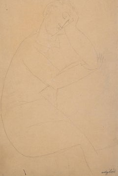 Figure of a Seated Man - Original Pencil Drawing by Amedeo Modigliani - 1915/16