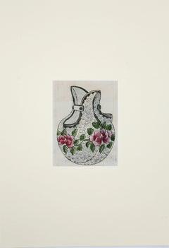 Porcelain Vase - Original Watercolor and Ink Drawing - 1890s