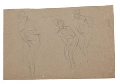Figures of Women - Original Pencil by Charles Lucien Moulin - Early 20th Century