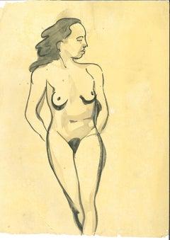 Nude Woman - Original Pen and Watercolor by André MeauxSaint-Marc - 1900