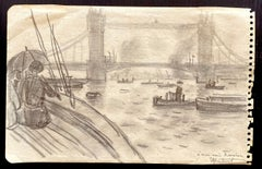 Boats on the Thames - Original Drawing by Robert Louis Antral - 1920s