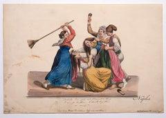 Women Fight - Original Painting in Gouache - 19th Century
