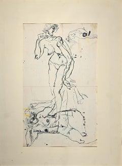 Nude Figures - Original China Ink drawing by Sergio Barletta - 1958