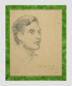Portrait of a man - Original Charcoal Drawing by Dimitri Godycki Cwirko - 1966