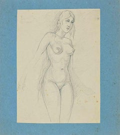 Alluring Nude Woman - Original Pencil Drawing- Early-20th Century