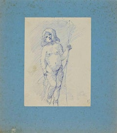 Naked of Boy - Original Pen Drawing - Early 20th Century