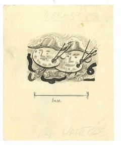 Sketch for Il Selvaggio - Original Drawing on Paper by Mino Maccari - 1933