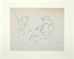 Hunters - Original Drawing on Paper by Mino Maccari - 1970s