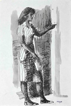 Figure of Woman - Original China Ink and Watercolor by Mayo - 1950s