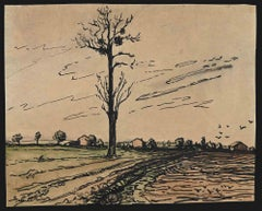 French Countryside - Original China Ink Drawing and Watercolor - 1940s