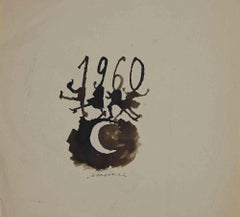 Happy 1960 - Original Watercolor on Paper by Mino Maccari - 1960