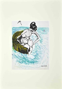 The Bather - Original Drawing by Gaston Livragne in 1960 ca.