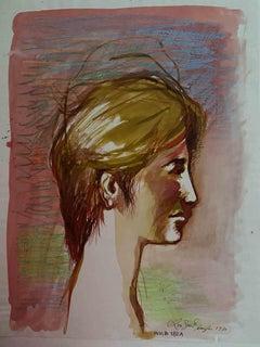 Nude - Original Drawing by Leo Guida - 1970