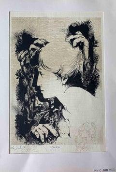 Portrait - Original Print by Leo Guida - 1970