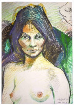 Nude Portrait - Original Mixed Media by Leo Guida - 1960