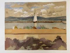 The Boat in the Dock - Original Watercolor - 1945 ca