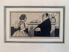 The Priest with Good Taste - China Ink by Carlo Rivalta - Early 20th Century