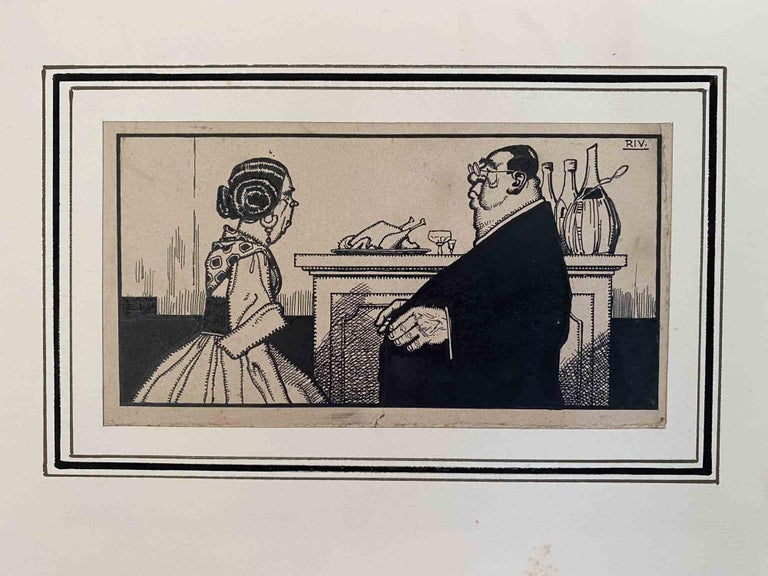 """The priest with good taste is an original drawing artwork realized by Carlo Rivalta (1887-1941).  China ink drawing on brownish paper.  Monogrammed top-right """"RIV""""  The state of preservation is good.  The original sheet is mounted on a cardboard"""