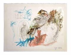 Woman-bird - Original Drawing by Leo Guida - 1980s