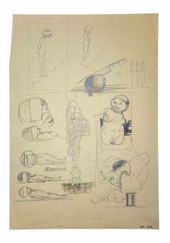 Surreal Scene - Original Drawings by Leo Guida - 1970s