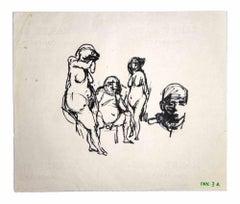Posing Figures Sketch - Original Drawings by Leo Guida - 1970s