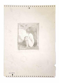 Crouched Girl - Original Pencil Drawing by Leo Guida - 1970s
