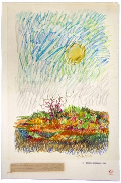 Landscape - Original Drawing by Leo Guida - 1968