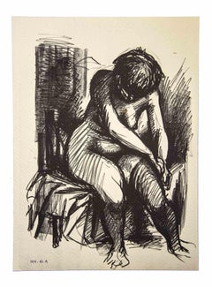 Crouched Nude - Original Drawing by Leo Guida - 1980s