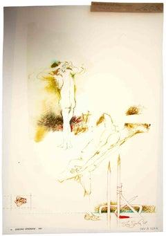 Nude - Original Drawing by Leo Guida - 1967