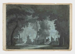 The Castle in Twilight - Original Drawing by G. Leonardi - Early 20th Century