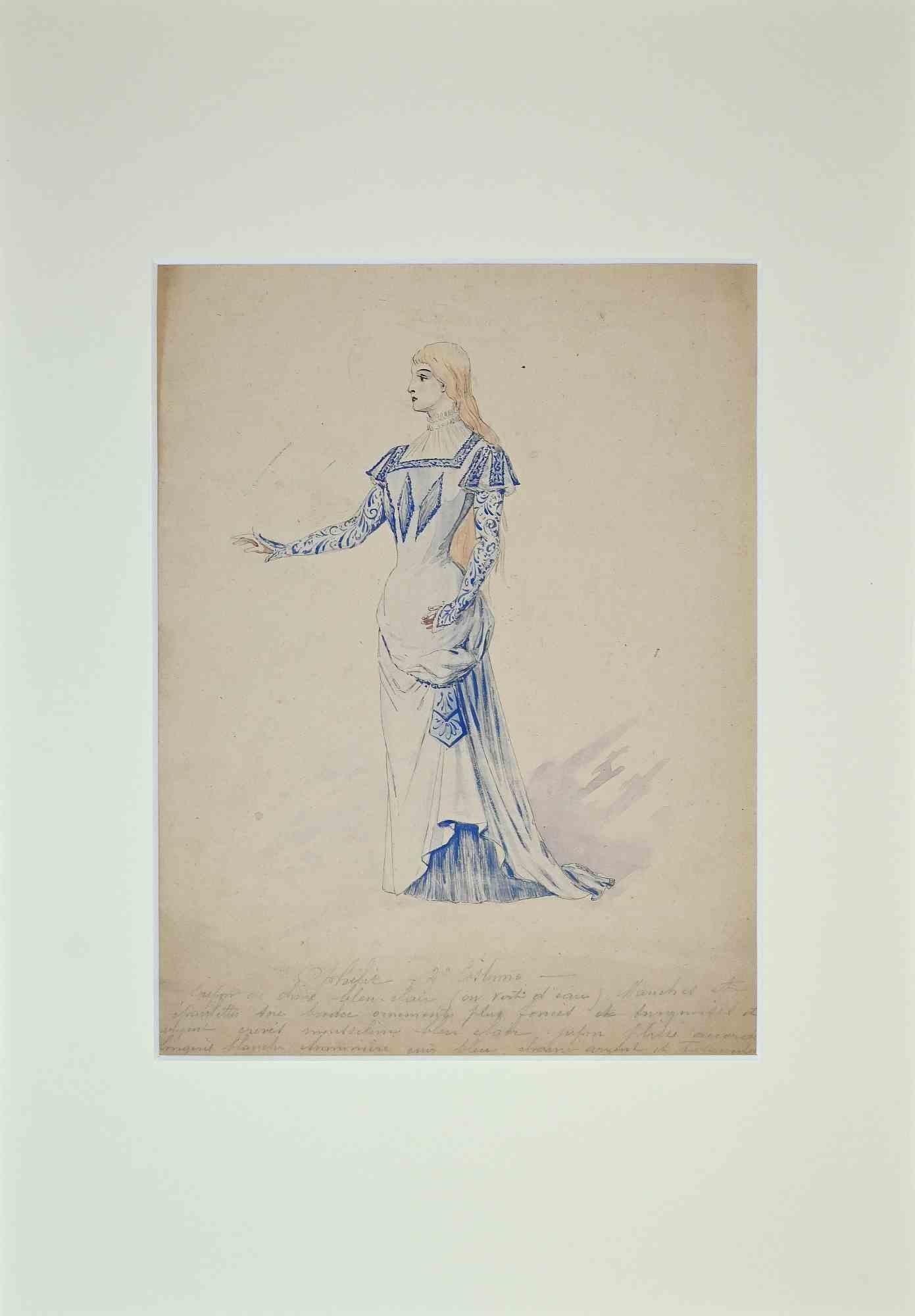 Theatrical Costume - Original Watercolor by Alfredo Edel - 1895