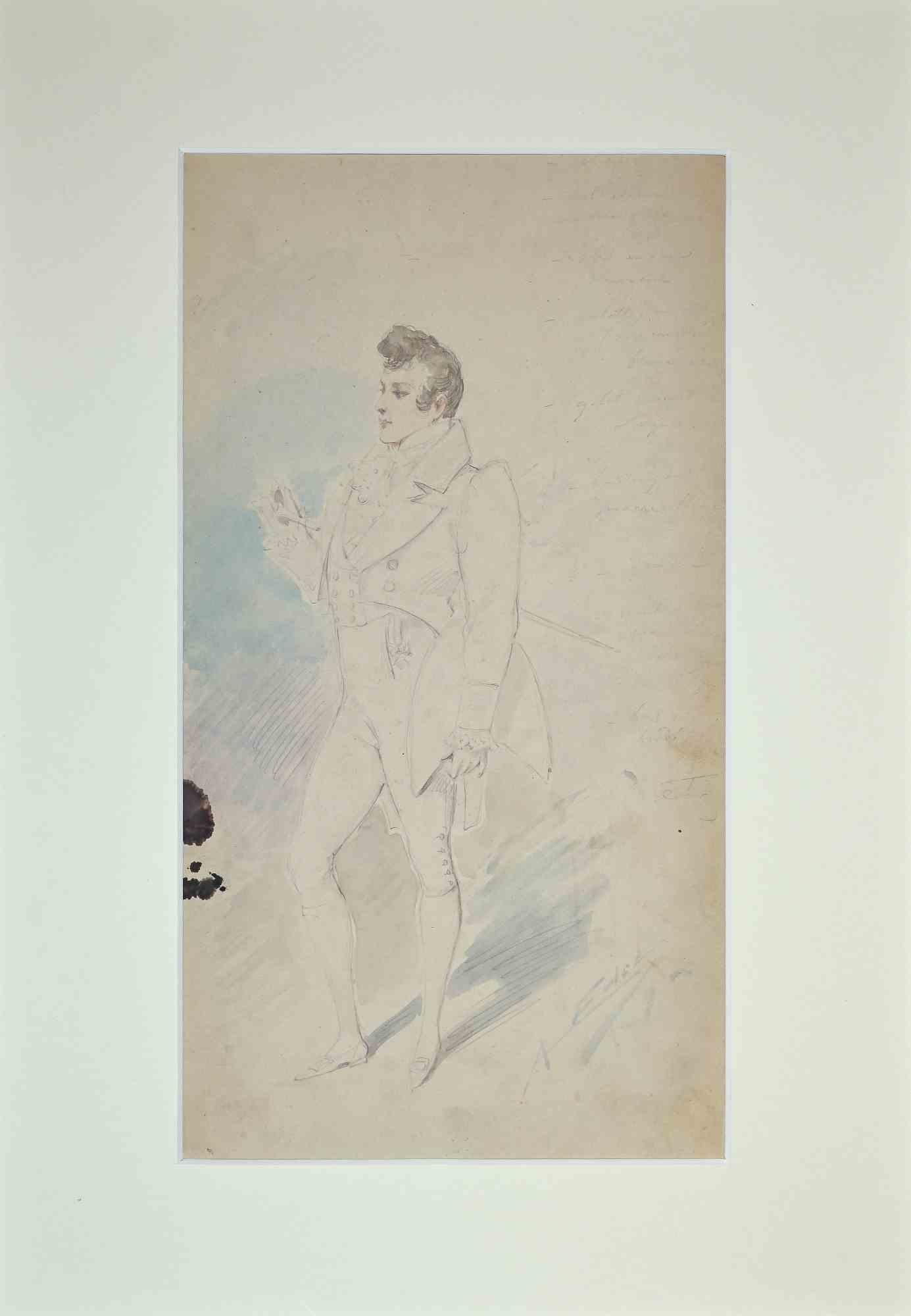 Theatrical Costume - Original Pencil Drawing by Alfredo Edel - 1895