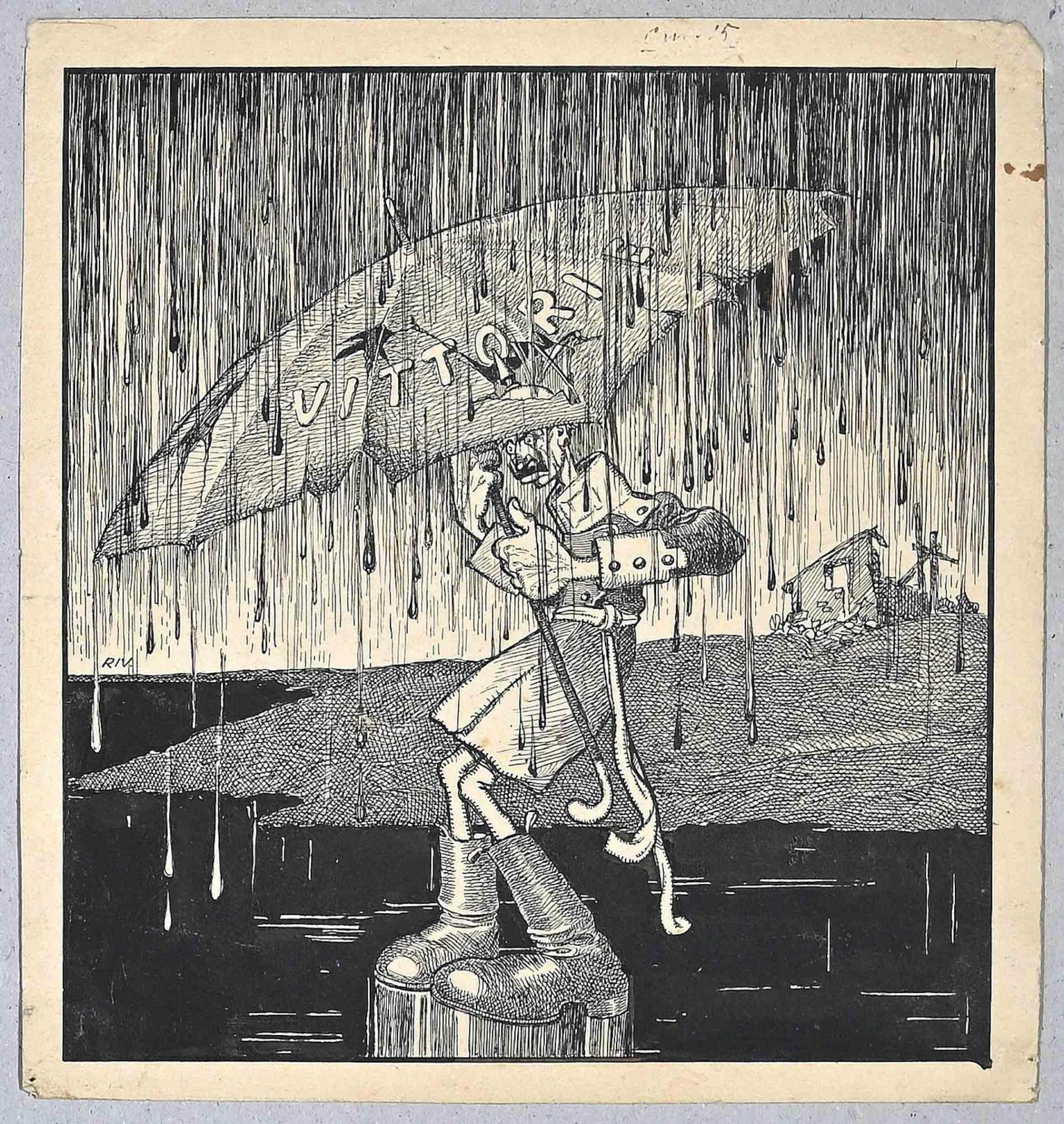 Vittorie - Original China Ink by Carlo Rivalta - 1918