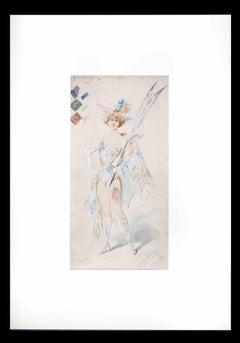 Harlequin - Original Watercolor by Alfredo Edel - 1904