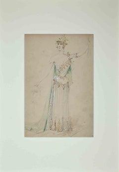 Theatrical Costume - Original Pencil by Alfredo Edel - 1895