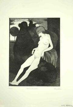 The Sleeping Sybil - Original Etching by Leo Guida - 1970