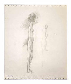 Standing Nude - Original Drawing by Leo Guida - 1970s