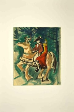 Knight and Girl - Original Drawing - 1950s