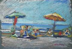 The Beach - Original Drawing - 1950s