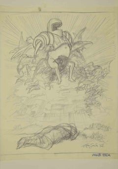 Knight on a Winged Throne - Original Drawing by Leo Guida - 1972