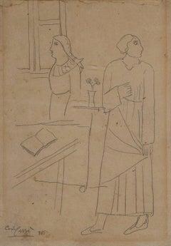 Figure in un Interno - Original Drawing by Carlo Carrà - 1915
