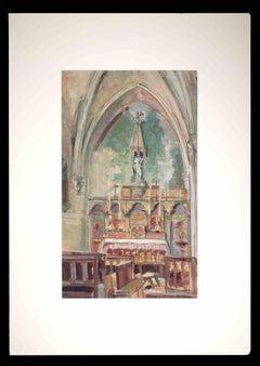 Inside of a Church - Original Drawing by Rémy Hetreau - 1937