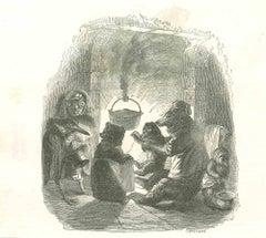 Warming Up - Original Lithograph by J.J Grandville - 1852